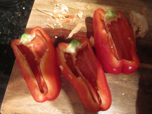 first, gut the peppers